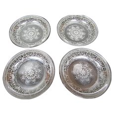 Gorgeous Set Of 10 Silver Luster / Lustre Butter Pats Minton