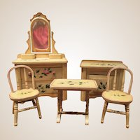 Delightful Pine Cottage Set - Hand Painted Roses - For Doll House