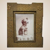 Original Cabinet Card Photo of Small Terrier - Fancy Collar