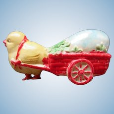 Adorable Celluloid Easter Chick Pulling Cart / Egg