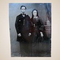 Wonderful Tin Type Photo - Married Couple Gold Jewelry
