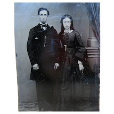 Wonderful Tin Type Photo - Married Couple Gold Jewelry