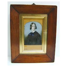 19th c. Mourning Woman Miniature in Large Walnut Frame