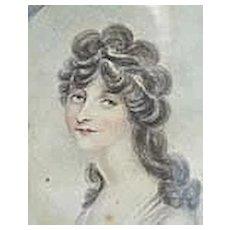 Napoleon I Era Woman Miniature Portrait on Vellum in Enamel Frame - Provenance