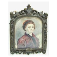 18th c. Miniature of Hogarth on Vellum in Exquisite Bronze Frame