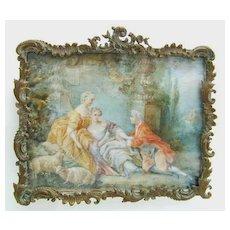 Magnificent Fragonard type Miniature of Romantic 18th c. Scene