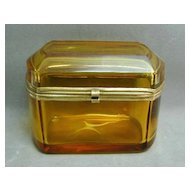 1800s French Amber Glass Ormolu Mounted Casket