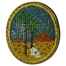 1930s Czech Micro-Beaded Brooch - Egyptian Scene