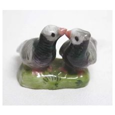 Rare, 19th c. Miniature Meissen Lovebird Group