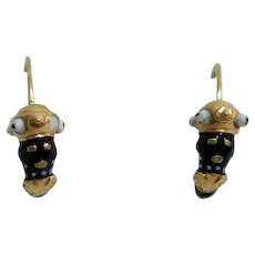 Stunning, Rare 19th c. Blackamoor Gold Enamel Earrings