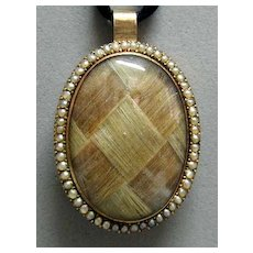 Exquisite Georgian 15K Gold and Seed Pearl Mourning Hair Pendant