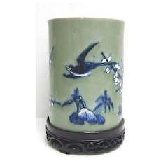 Kangxi Chinese Celadon Brush Pot on Wood Stand