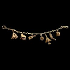 Unusual Vintage Charm Bracelet - 9Kt Bracelet with 14K Gold Charms