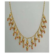 Magnificent 18th Century Coral and 22K Gold Festoon Necklace