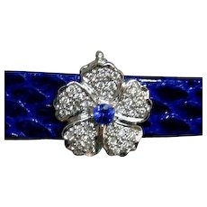 Vintage Diamond Sapphire Hinged Flower Slide 3-Strand Pearl Necklace