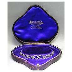 19th c. Platinum & 15K Gold Diamond Emerald Bracelet in Box