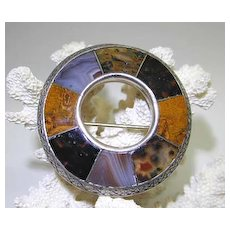 Scottish Silver and Agate Pin/Pebble Brooch with Moss Agates
