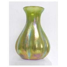 Stunning Art Nouveau Loetz Silberiris Green Ribbed Melon Glass Vase