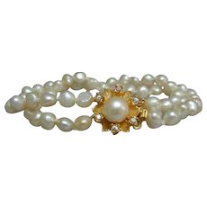 Lovely Vintage 2-strand Salt Sea Pearl and Vermeil Bracelet