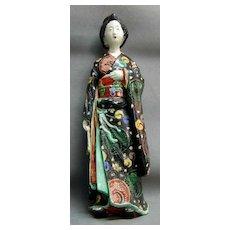 Large 19th c. Japanese Kutani Figure of a Geisha in Black