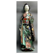 Large 19th c. Japanese Kutani Figure of a Geisha in Black