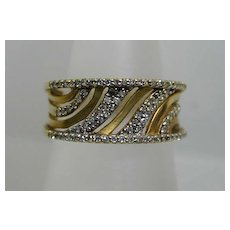 "Stunning Vintage Multi-Diamond ""Waves"" Pierced Ring"