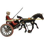 Vintage German Clockwork Wind up Horse Racing Toy - Harness Racer