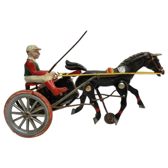 Vintage German Clockwork Wind up Horse Racing Toy - Harness Racer