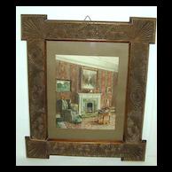 c. 1900 Room Interior Watercolor in Jacobean Revival Frame