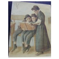 Judaica Watercolor - Scene in Heder or Shul - Boy with Tefillin
