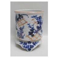 19th c. Japanese Blue White Signed Brush Pot or Jardiniere