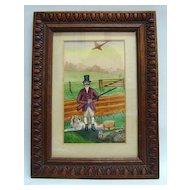 19th c. Naive Watercolor of Hunter, Dog and Pheasant
