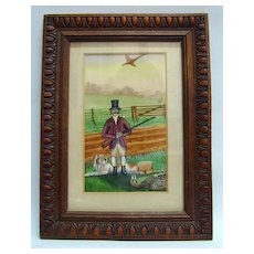 19th c. Naive Watercolor of Hunter, Dog and Pheasant