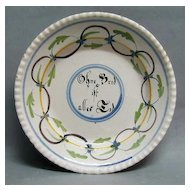 1700s Tin Glazed Faience Plate - Dutch or German - Signed