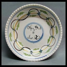 1700s Tin Glazed Faience Plate - Dutch or German - Signed
