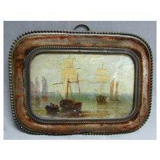 Rare 17th c. Miniature Marine Oil Painting in Bronze & Velvet Frame