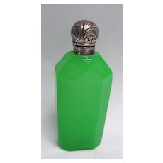 Late 19th c. Green Opaline and Silver Perfume Bottle