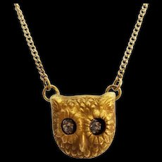 Fabulous Antique 14K Gold and Diamond Eyes Owl Necklace - Moving Eyes