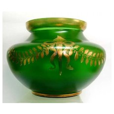 Late 19th c. Acid Etched Emerald Green Gilded Vase