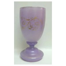 Early 19th c. Lavender Glass Wine Goblet w/Gilding
