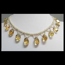 c. 1885 Seed Pearl and Citrine Festoon Necklace