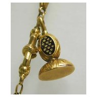 Exquisite, Rare 19th c. French 18K Gold Wax Seal Necklace