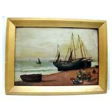 Early 20th c. Small Oil on Board - Fishing Vessel and Shore Scene