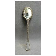Divine Georgian Chatelaine Sterling Silver Repousse  Mirror