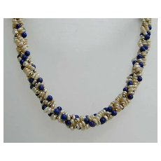 Exquisite Vintage Seed Pearl, Lapis 14K Gold 4-Strand Torsade Necklace