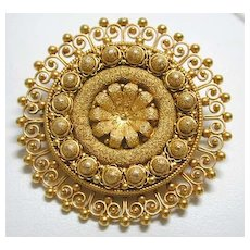 Etruscan Granulated 18K Brooch
