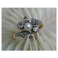 Stunning 19th c. Victorian 18K Silver-topped Diamond Ring
