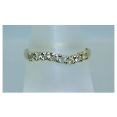 Lovely 14K 8-Diamond Wavy Band Ring