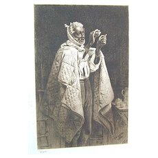 Fine 19th c. Black Americana - T.W. Wood Signed Etching