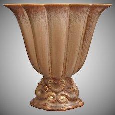 Cowan Pottery Large Seahorse Fan Vase, Fawn Glaze, Ca. 1926